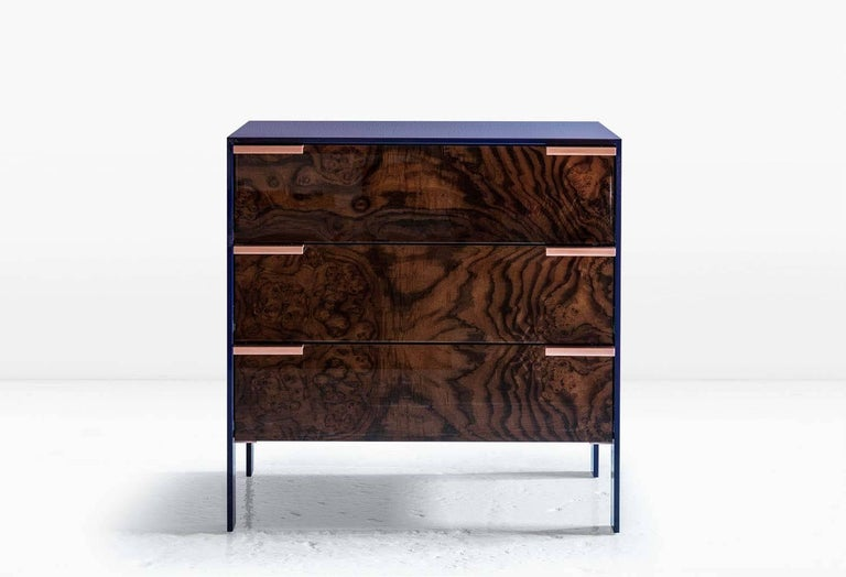 Modern Johansson Cabinet / End Table, Blue Lacquered Aluminum, Walnut Burl, Copper For Sale