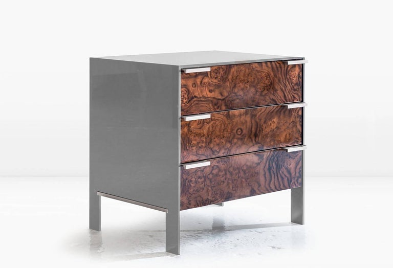 American Johansson Cabinet / End Table in Blue Lacquered Aluminum, Walnut Burl, Nickel  For Sale