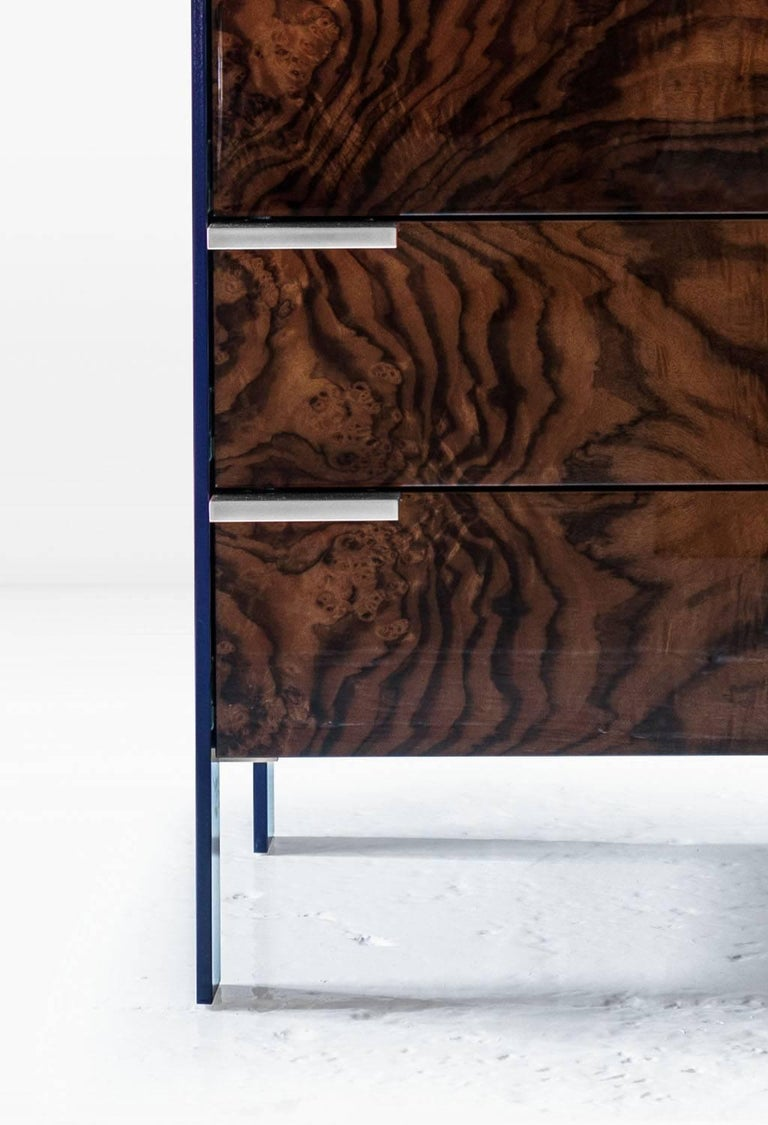 Modern Johansson Cabinet / End Table in Blue Lacquered Aluminum, Walnut Burl, Nickel  For Sale