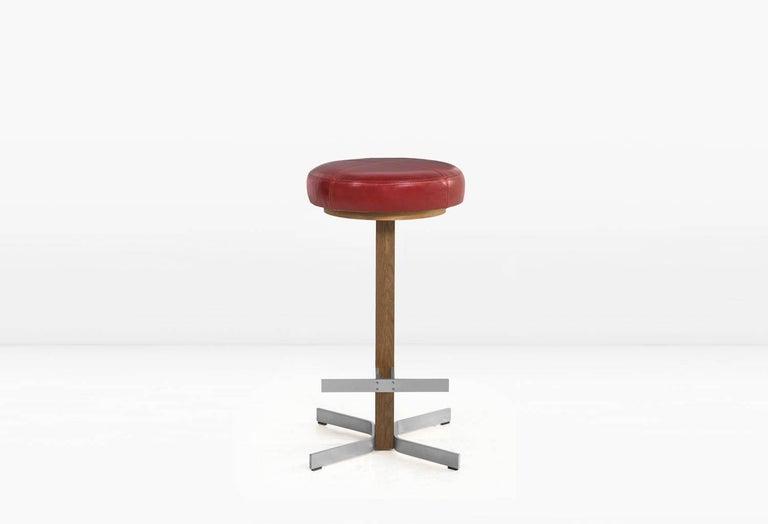 Walcott Barstool White Oak And Nickel Base Red Leather