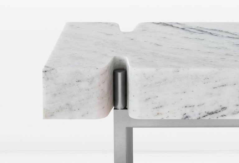 Modern Terranova Side Table or End Table with Hewn Marble Top and Nickel Base For Sale