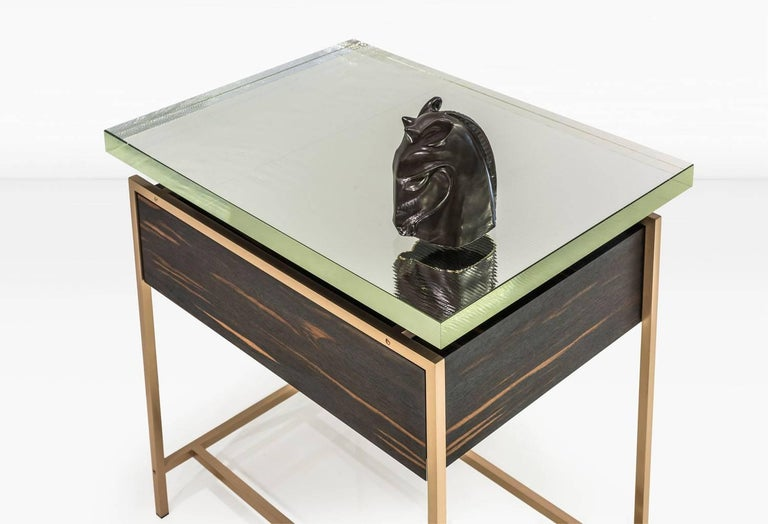 Frazier Side Table with Drawer with Thick Borosilicate Glass Top and Bronze Base In Excellent Condition For Sale In New York, NY