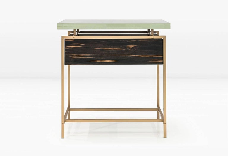 Modern Frazier Side Table with Drawer with Thick Borosilicate Glass Top and Bronze Base For Sale