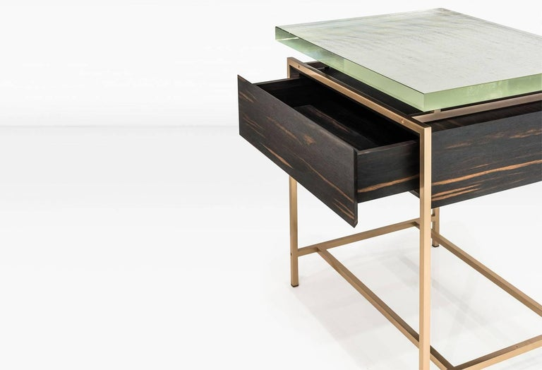 Veneer Frazier Side Table with Drawer with Thick Borosilicate Glass Top and Bronze Base For Sale