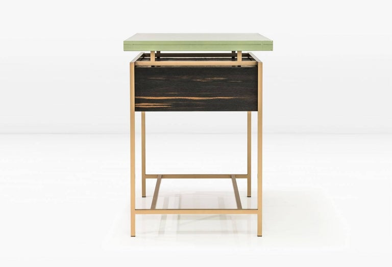 American Frazier Side Table with Drawer with Thick Borosilicate Glass Top and Bronze Base For Sale