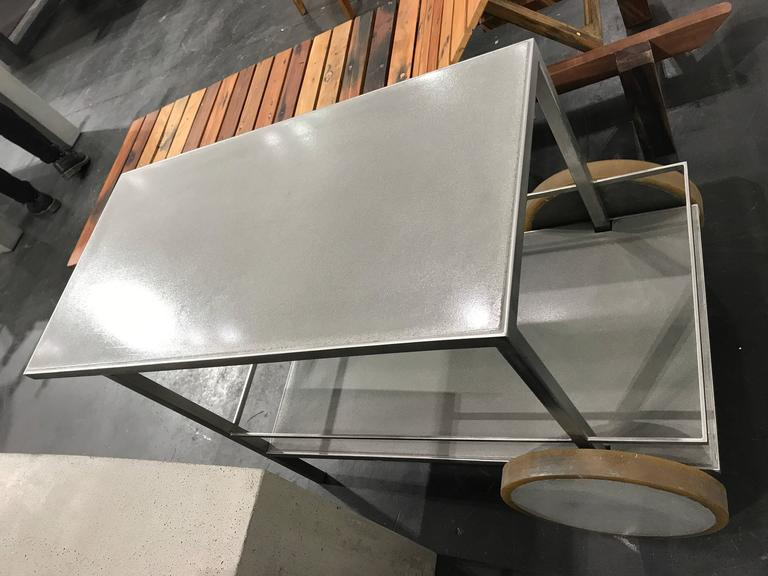 American James de Wulf Concrete and Stainless Steel Bar Cart For Sale