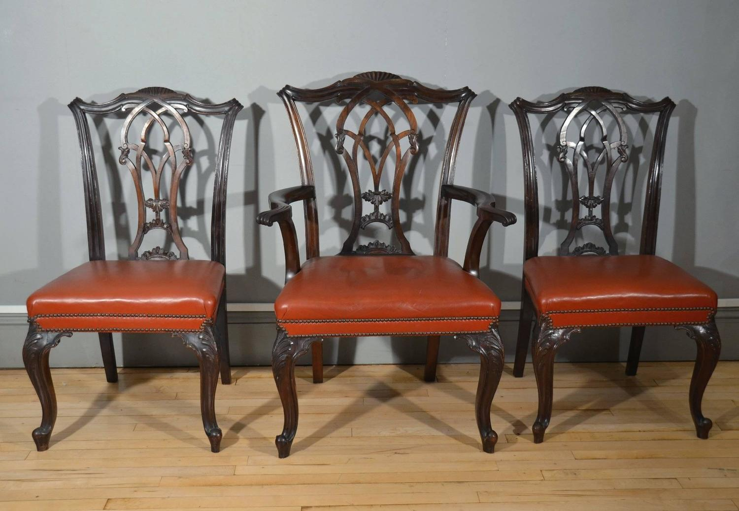 set of eight chippendale design mahogany dining chairs at