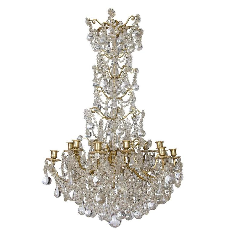 Gilt crystal candle chandelier, ca. 1860