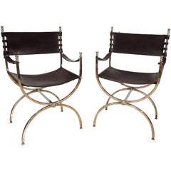 Mid-20th Century Leather and Chrome X-Frame Armchairs