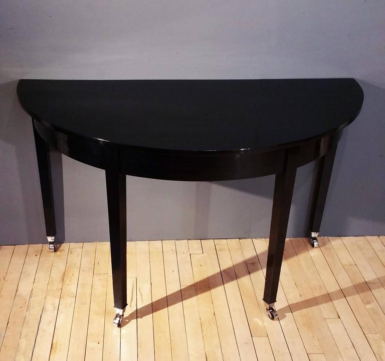 Pair of Early 19th Century Ebonized Mahogany Demilune Console Tables For Sale 5
