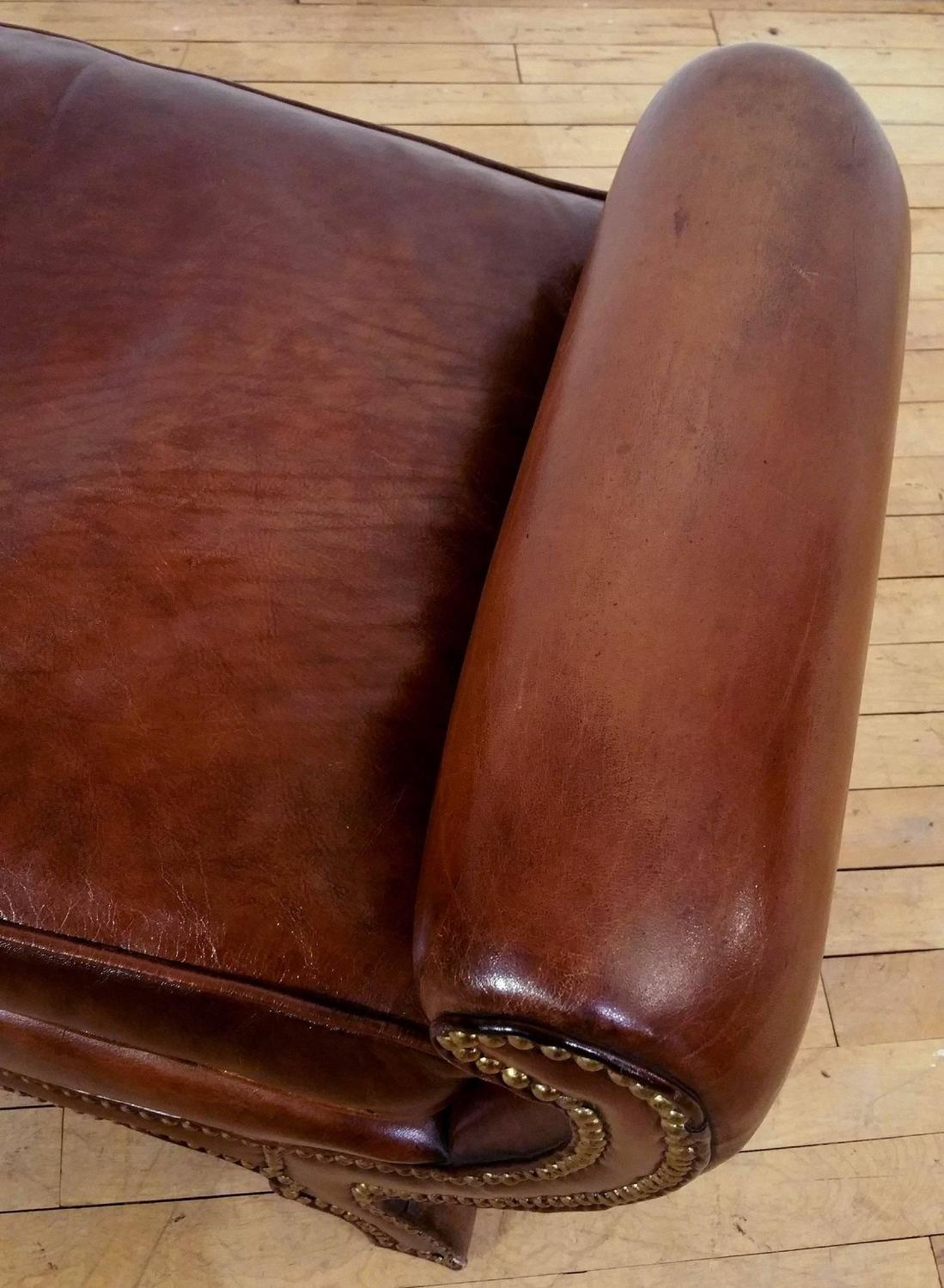 Pair of Regency Style Leather Upholstered Window Seats For