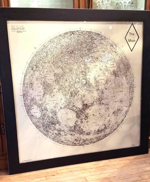 Limited Edition Orthographic Drawing Print of the Moon For Sale 4
