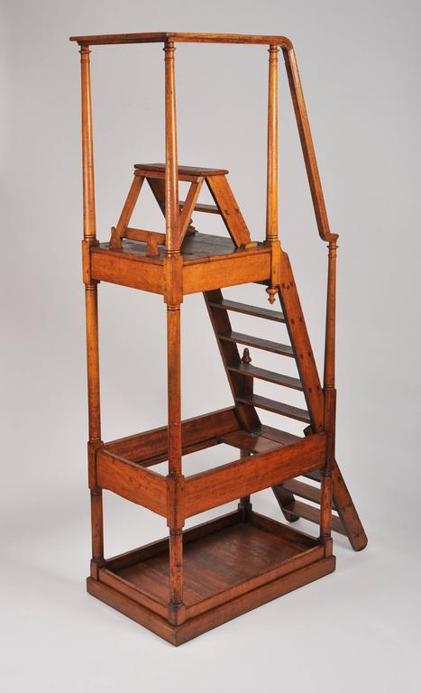These magnificent and oversized 19th century oak library Steps are stamped VR, and were originally from the Tate Gallery. It measures 99 in, 251 cm in total height, with a depth of 24 ½ in, 62.5 cm deep and 54 ½ in, 138.4 cm wide. The height to the