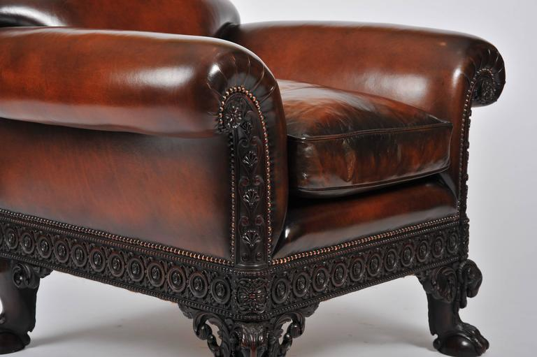Early th century carved leather upholstered mahogany