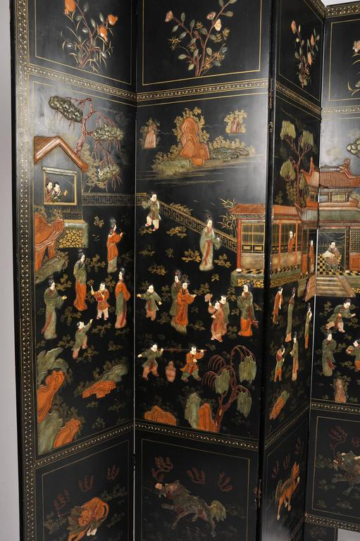Carved 19th Century Black Lacquer Chinese Folding Screen