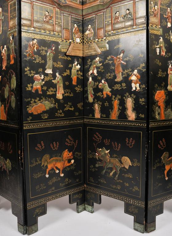 Multi-gemstone 19th Century Black Lacquer Chinese Folding Screen