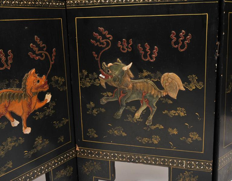 19th Century Black Lacquer Chinese Folding Screen 1