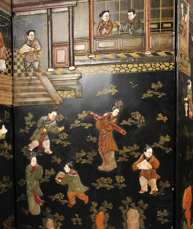 19th Century Black Lacquer Chinese Folding Screen 3