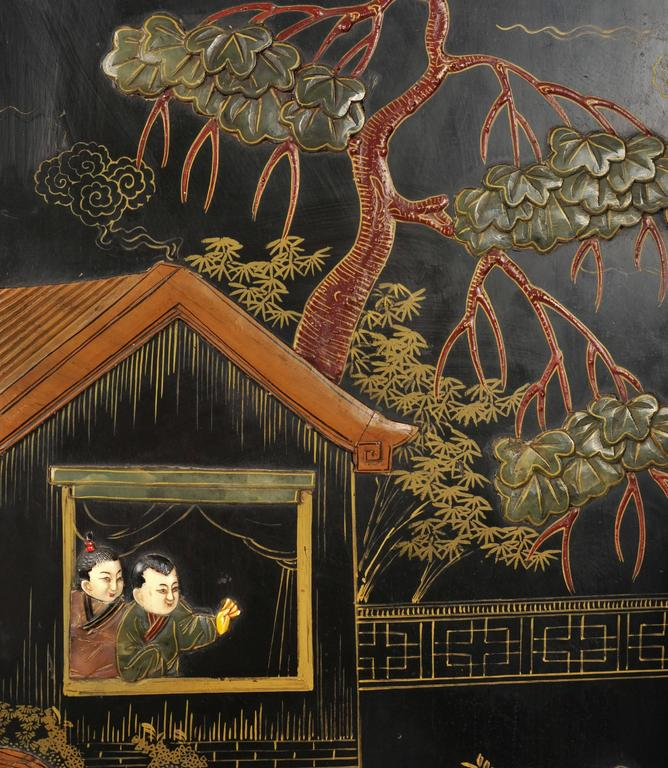 19th Century Black Lacquer Chinese Folding Screen 5