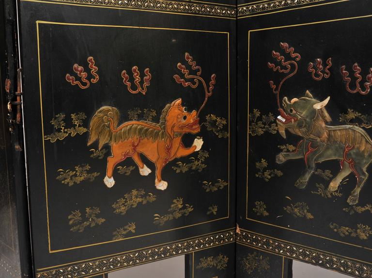 19th Century Black Lacquer Chinese Folding Screen 2