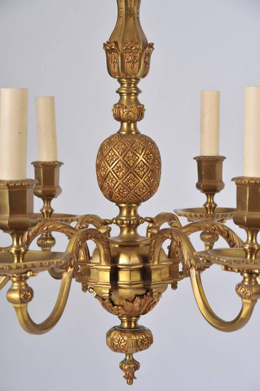 Belgian Pair of Early 20th Century Ormolu Chandeliers For Sale