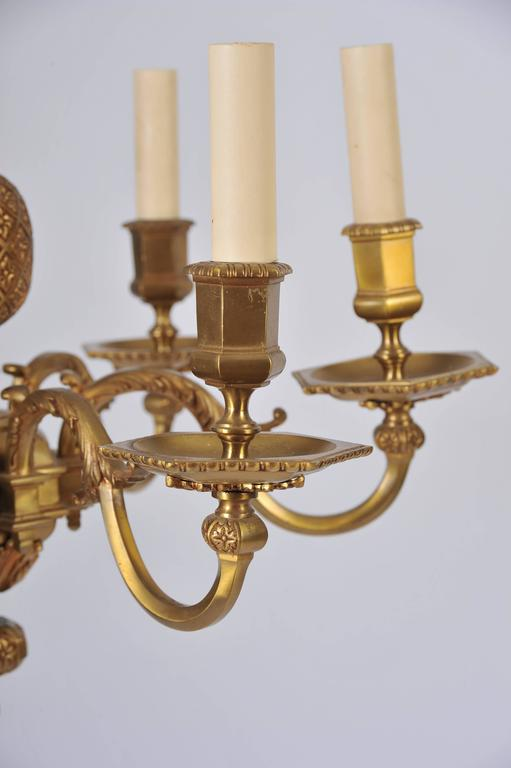 Pair of Early 20th Century Ormolu Chandeliers For Sale 2