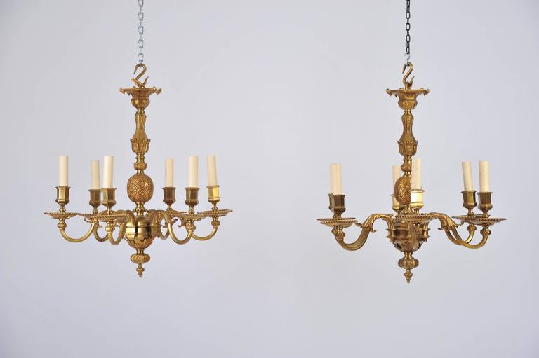 Pair of Early 20th Century Ormolu Chandeliers For Sale 6