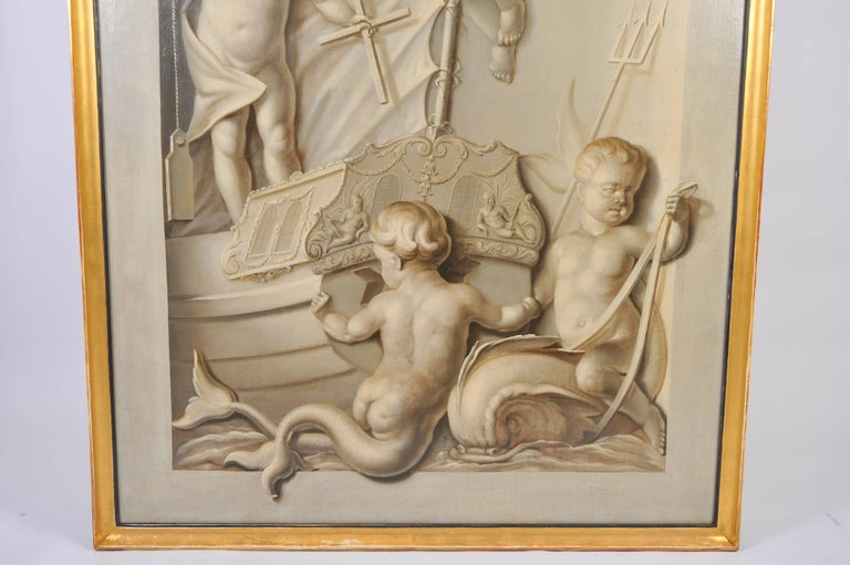 This beautiful and very detailed 19th century painting depicts a group of cherubs on a boat engaged in various activities. The painting has an unusual arched shaped canvas that has been re-stretched and re-framed. It measures 56 ¼ in – 143 cm wide,