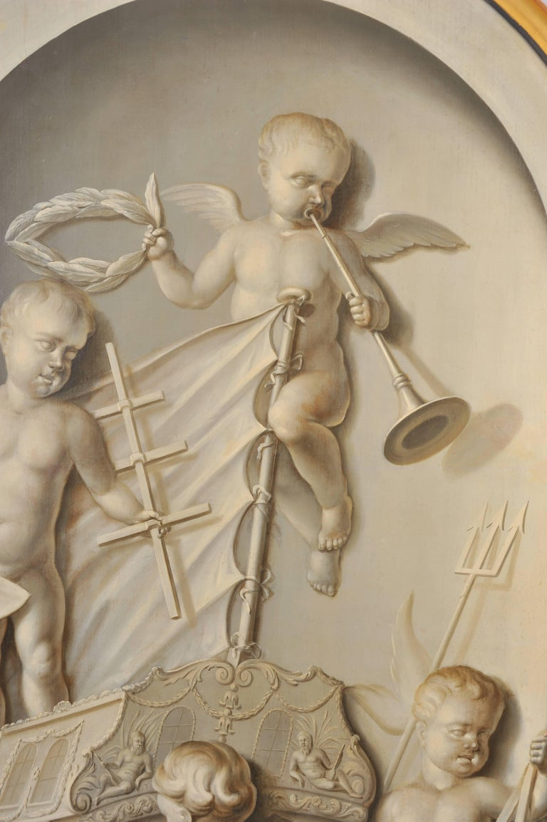 Hand-Painted 19th Century Large Dutch Cherub Painting For Sale