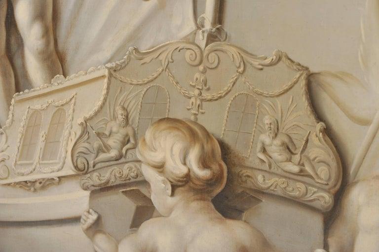 19th Century Large Dutch Cherub Painting For Sale 1