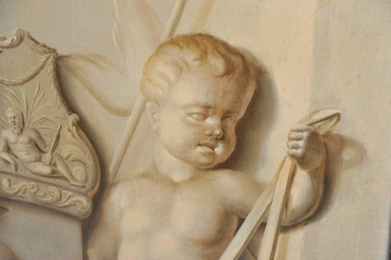 19th Century Large Dutch Cherub Painting For Sale 2