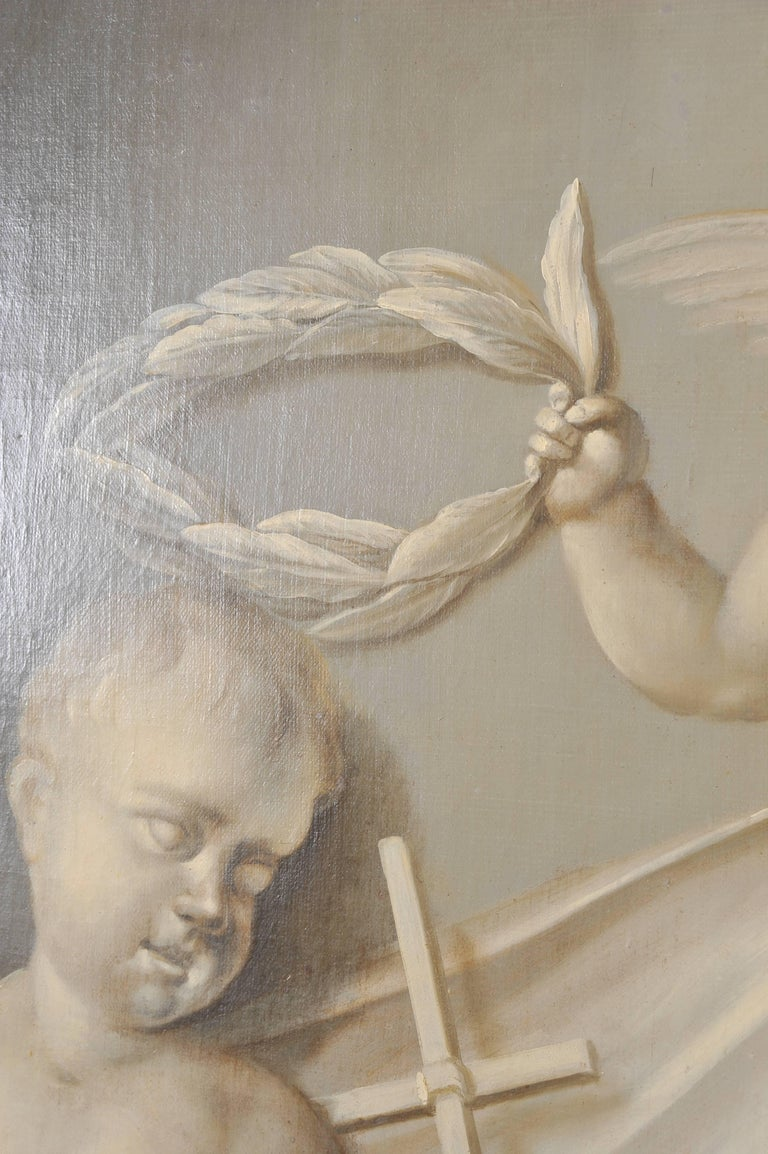 19th Century Large Dutch Cherub Painting For Sale 4