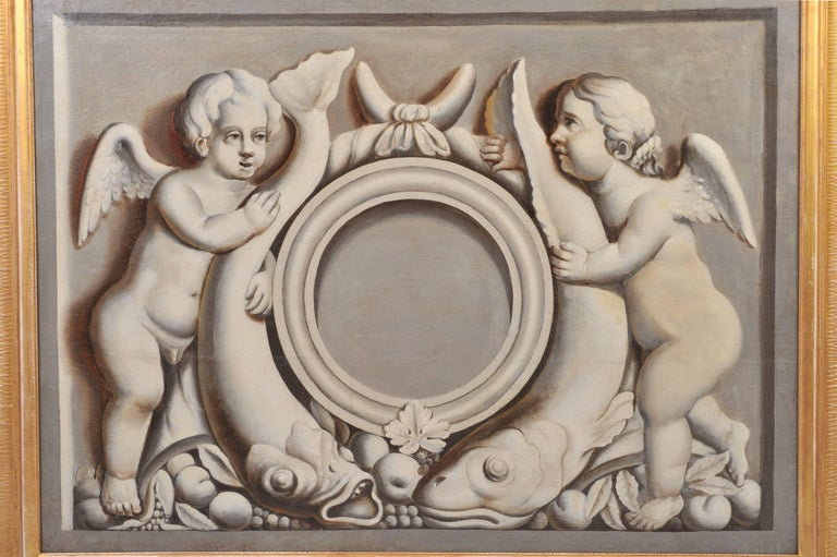 This lovely French oil on canvas depicts a pair of cherubs in a nautical setting with fish and fruit. The 18th C. canvas has been re-stretched and reframed. It measures 47 5/8 in – 121 cm wide, 61 in – 155 cm high and 2 in – 5 cm deep.