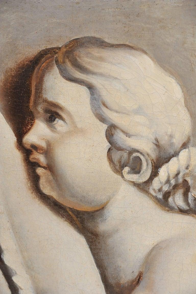 Hand-Painted 18th Century Trompe-l'œil Cherub Painting For Sale