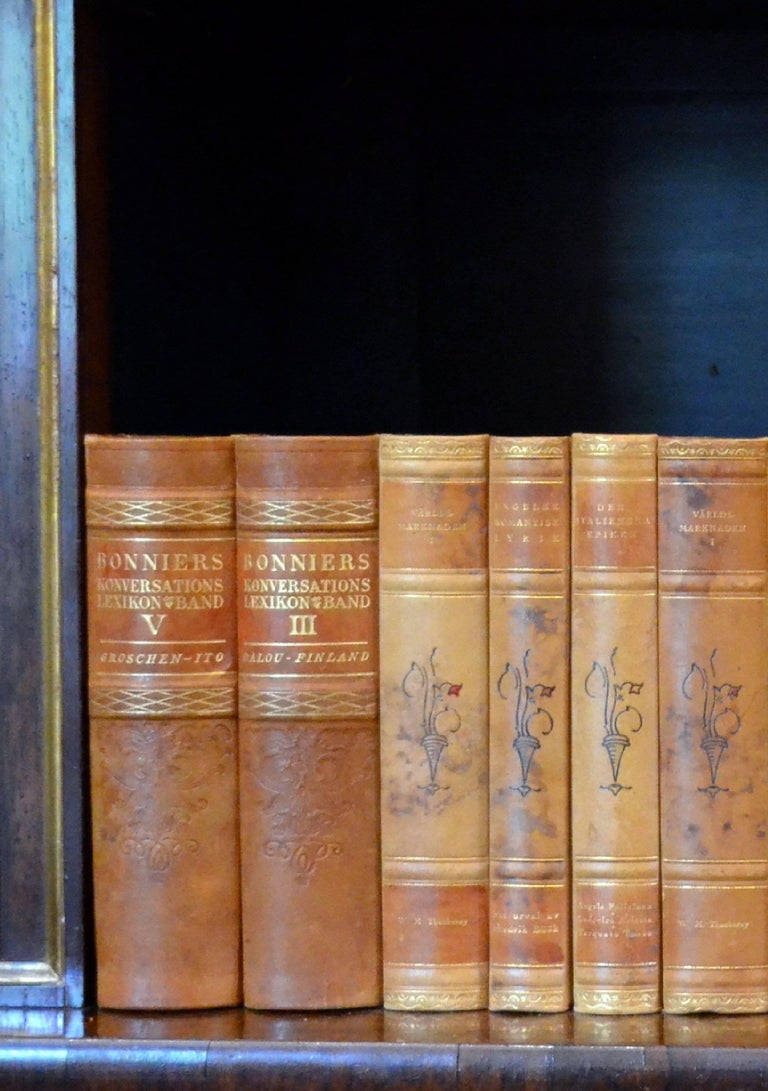 This metre of leather-bound books contains 32 books, in warm rich tones of light brown, tan and bright gold with gold leaf embossing. These books are all in very good condition and would beautifully enhance any bookcase or library. Please note, the