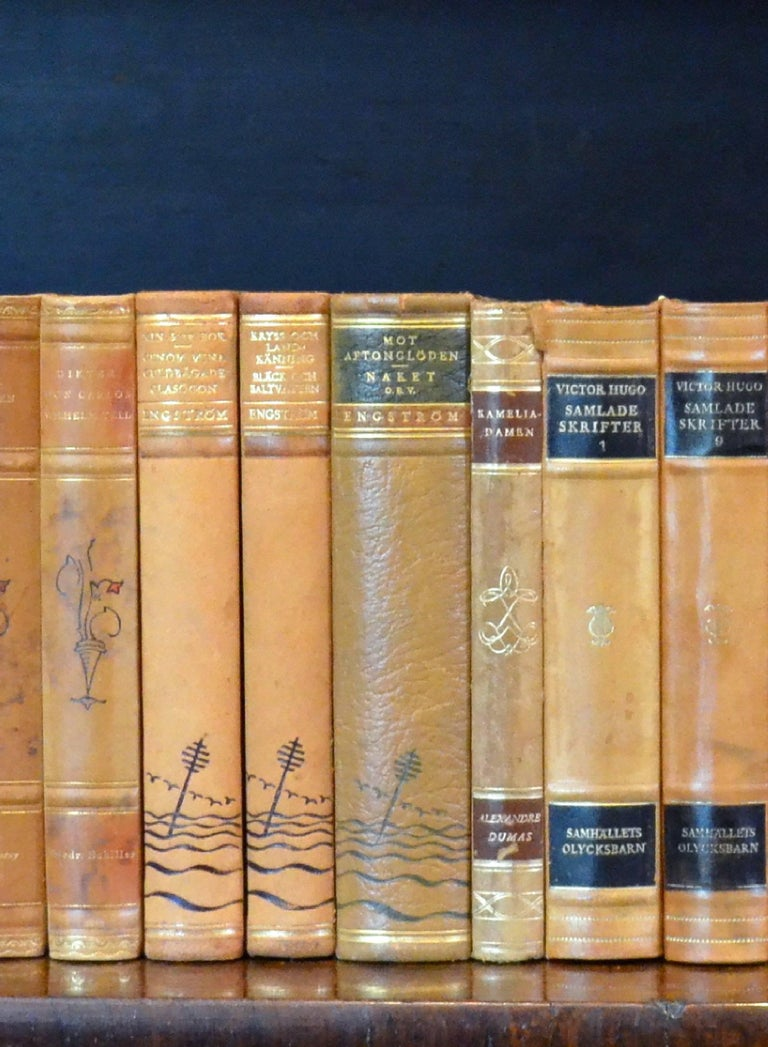 Swedish Meter of 20th Century Leather Bound Books, Series 15/16 For Sale