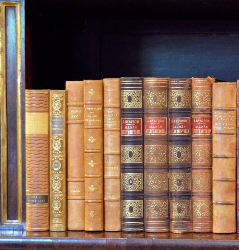This meter of leather-bound books contains 29 books, in tan, bright gold and orange with gold leaf embossing. These books would beautifully enhance any bookcase or library. Aside from two or three books that have slightly torn corners, the bulk of