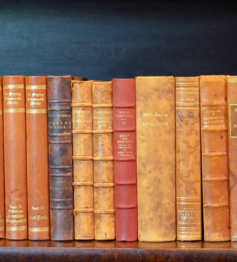 Swedish Metre of Early 20th Century Leather Bound Books, Series 25/26 For Sale