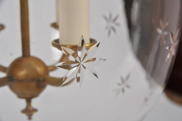 Large Glass Star Design Storm Lantern With Brass Fittings