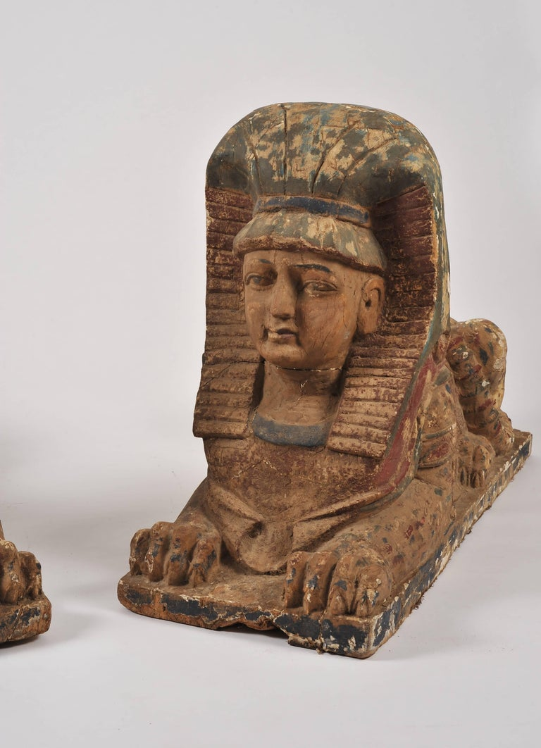 French Pair of 19th Century Sphinxes For Sale