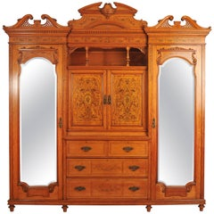 19th Century Large English Satinwood Wardrobe