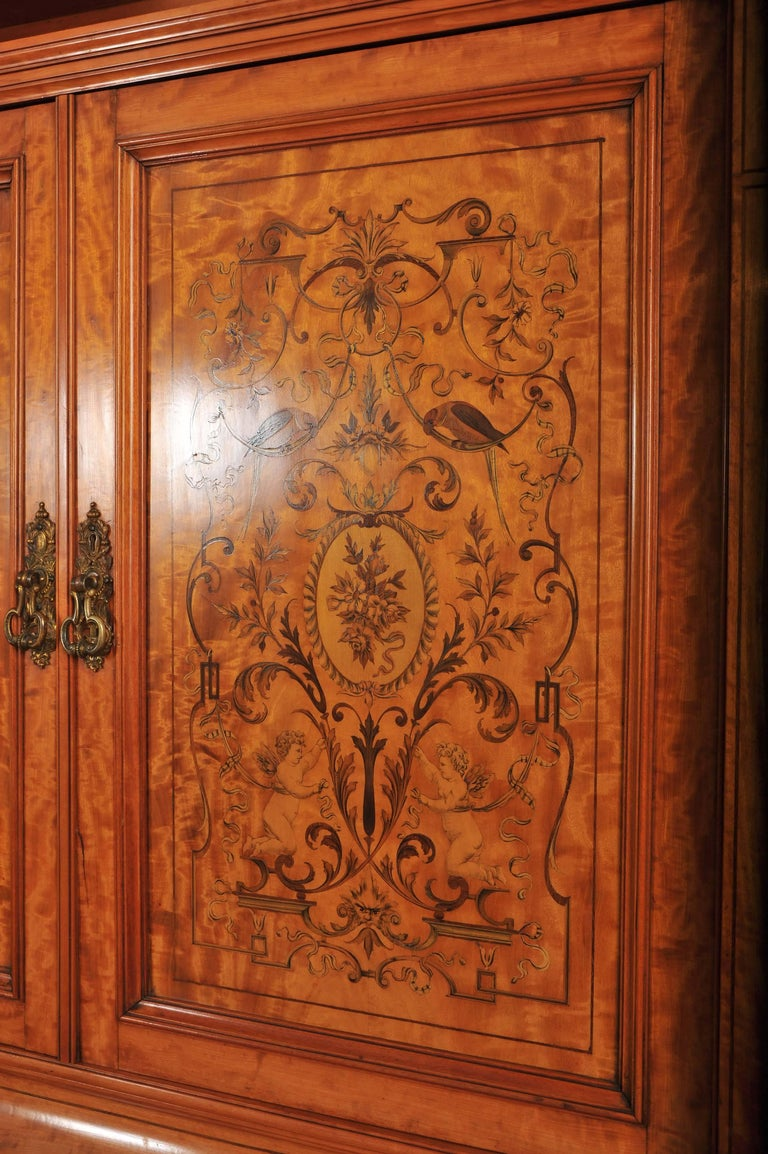19th Century Large English Satinwood Wardrobe For Sale 1