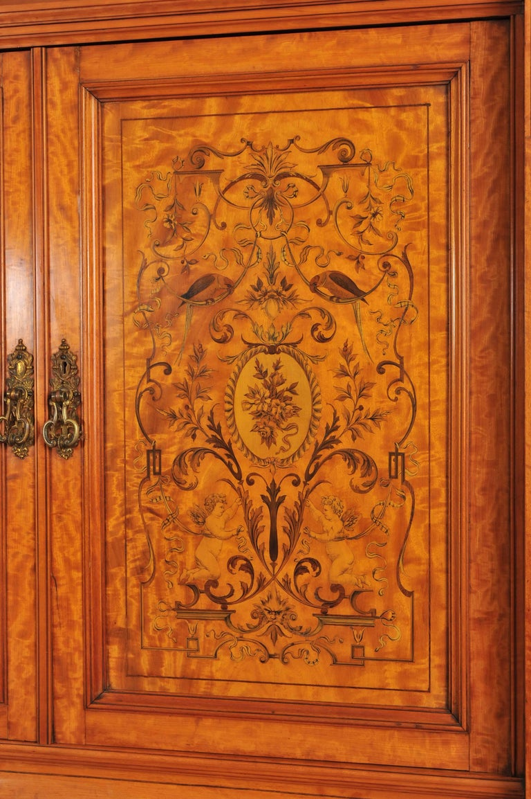 19th Century Large English Satinwood Wardrobe For Sale 2
