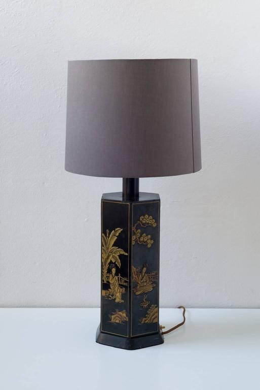 Chinoiserie Black Lacquer Table Lamp 2