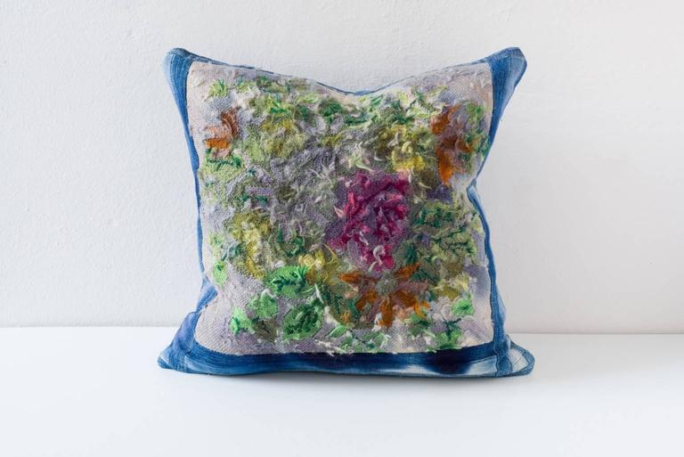 Vintage Floral Overdyed Reverse Needlepoint at 1stdibs