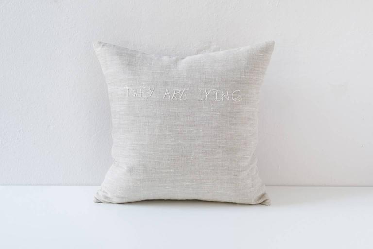 Embroidered Text 'They are Lying' Cushion For Sale at 1stdibs