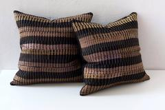 Vintage Black and Gold Stripe, Silk Embroidery Pillow