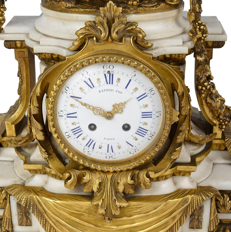 19th Century Large Louis XVI Style Mantel Clock, by Raingo Fres, Paris For Sale