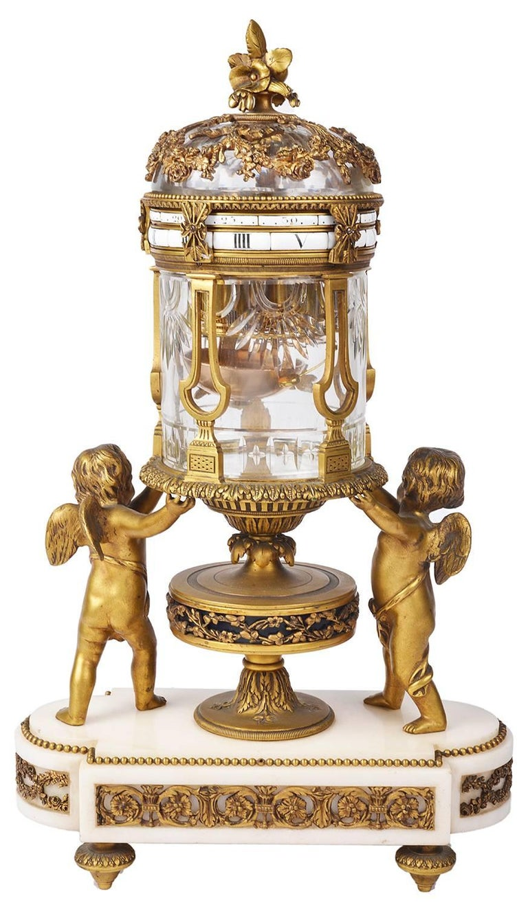 Gilt 19th Century Revolving Mantel Clock For Sale