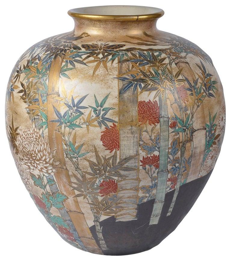 Hand-Painted Large and Impressive Japanese Satsuma Vase For Sale